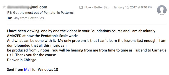 image of testimonial email about better sax pentatonic foundation course