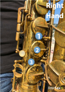Right hand fingers 1, 2 and 3