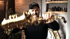 Jay Metcalf breaking his saxophone in frustration