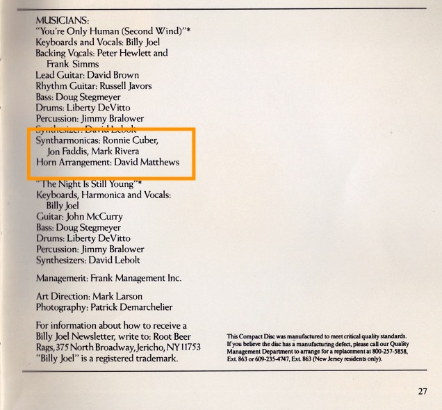 billy joel greatest hits album vol 1 and 2 liner notes