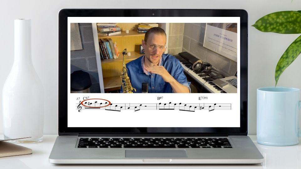 Essential Jazz Repertoire intermediate etudes vol 1 laptop mockup